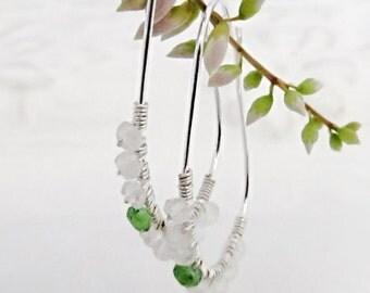 Green garnet earrings Genuine gemstone earrings Dainty silver hoops Minimalist earrings Moonstone earrings Wire wrapped gemstone jewelry