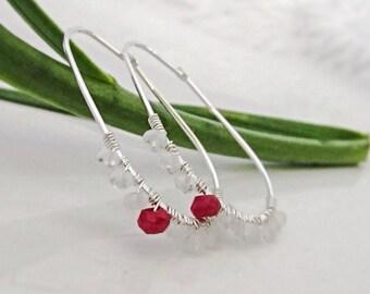 Ruby earrings Moonstone earrings Genuine gemstone earrings Silver hoop earrings Minimalist earrings Dainty hoop earrings Everyday jewelry