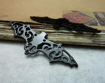 10pcs 19x56mm black bat pendant ,bat charms, Vampire charm setting Jewelry findings link bc7903