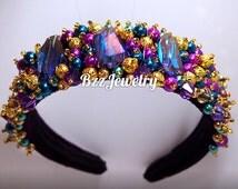 Baroque Headband and bead embroidered headpiece, wedding bridal crown DG headband, handmade headband, beadwork hairrim dolce gabanna