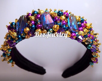 Baroque Headband and bead embroidered headpiece, wedding bridal crown DG headband, handmade headband, tiara, beadwork hairrim dolce gabbana