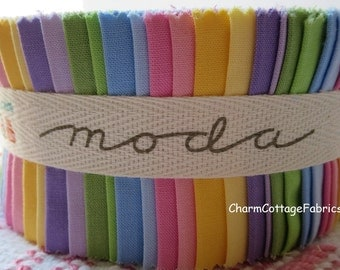 Bella Solids 30's Colors Jelly Roll by Moda Fabrics 9900JR-23  100% Quilter' s Cotton