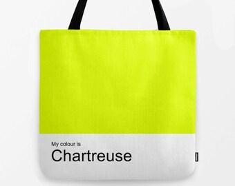 Chartreuse women tote bag, shoulder bag,school bag,shopping bag,tote,hand bag,canvas bag,colour bag,colour tote,woman bag
