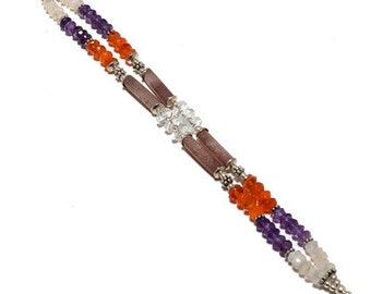 92.5 Sterling Silver Beaded  Amethyst, Carnelian Bracelet 25% discount world wide free shipping.