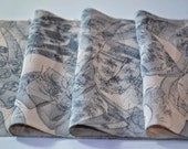 Vintage Japanese Kimono fabric piece - delicate printed silk 145cm x 18cm - long, narrow piece called 'Kimono Wall' in silvery grey