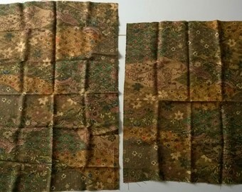 2 small pieces vintage Japanese kimono wool fabric for patchwork or quilting brown ochre 'Plum Blosson & Chrysanthemum'