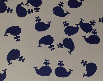 100 navy blue whales- Hand punched whale confetti- nautical theme birthday/whale baby shower/whale embellishment