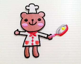 Cute Bear Cooking Chef New Iron On Patch Embroidered Applique Size 8.1cm.x8.5cm.