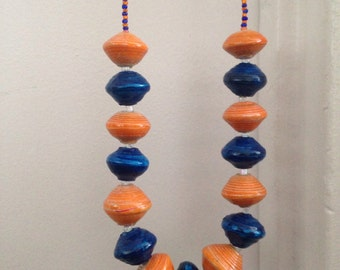 Orange and blue Paper-beads Necklace. Medium size. Handmade. Recycled. Eco -friendly.