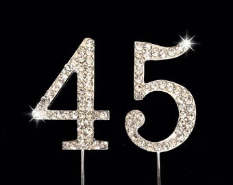 45th Birthday Cake Topper - 45th Anniversary Cake Topper - 1.75 Inches Tall - Cake Decoration