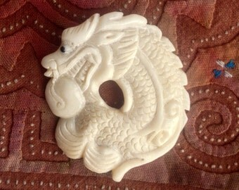 Hand Carved Bone Dragon Pendant / Bead - 1 1/2 Inch - 35 mm