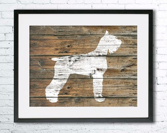 Giant Schnauzer 4 art illustration print, Giant Schnauzer painting ,dog illustration, Wall art, Rustic Wood art, Animal silhouette, dog art