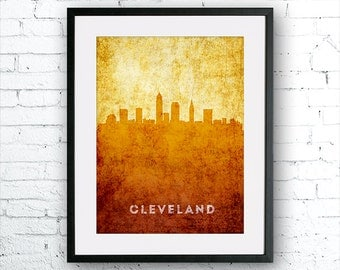 Cleveland illustration Art Print, Cleveland painting, United States Ohio art, poster, cityscape, city art, urban,city wall art