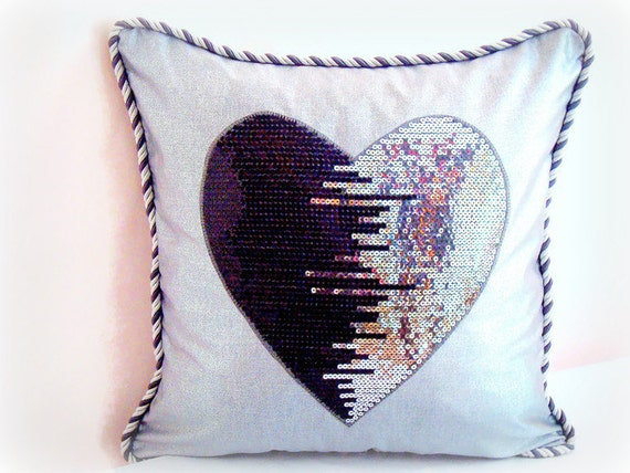 Throw Pillow Patterns Piping : Sequin heart pillow cover 20x20 Piping silver metallic