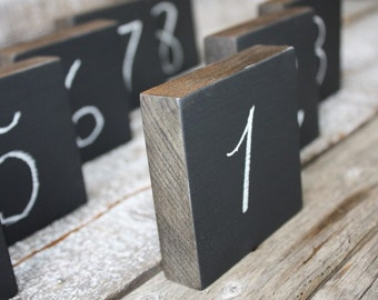 Rustic Chalkboard Table Numbers, Wedding Table Decor, Reception Decorations, Chalkboard Wood Blocks Reusable Set of 10