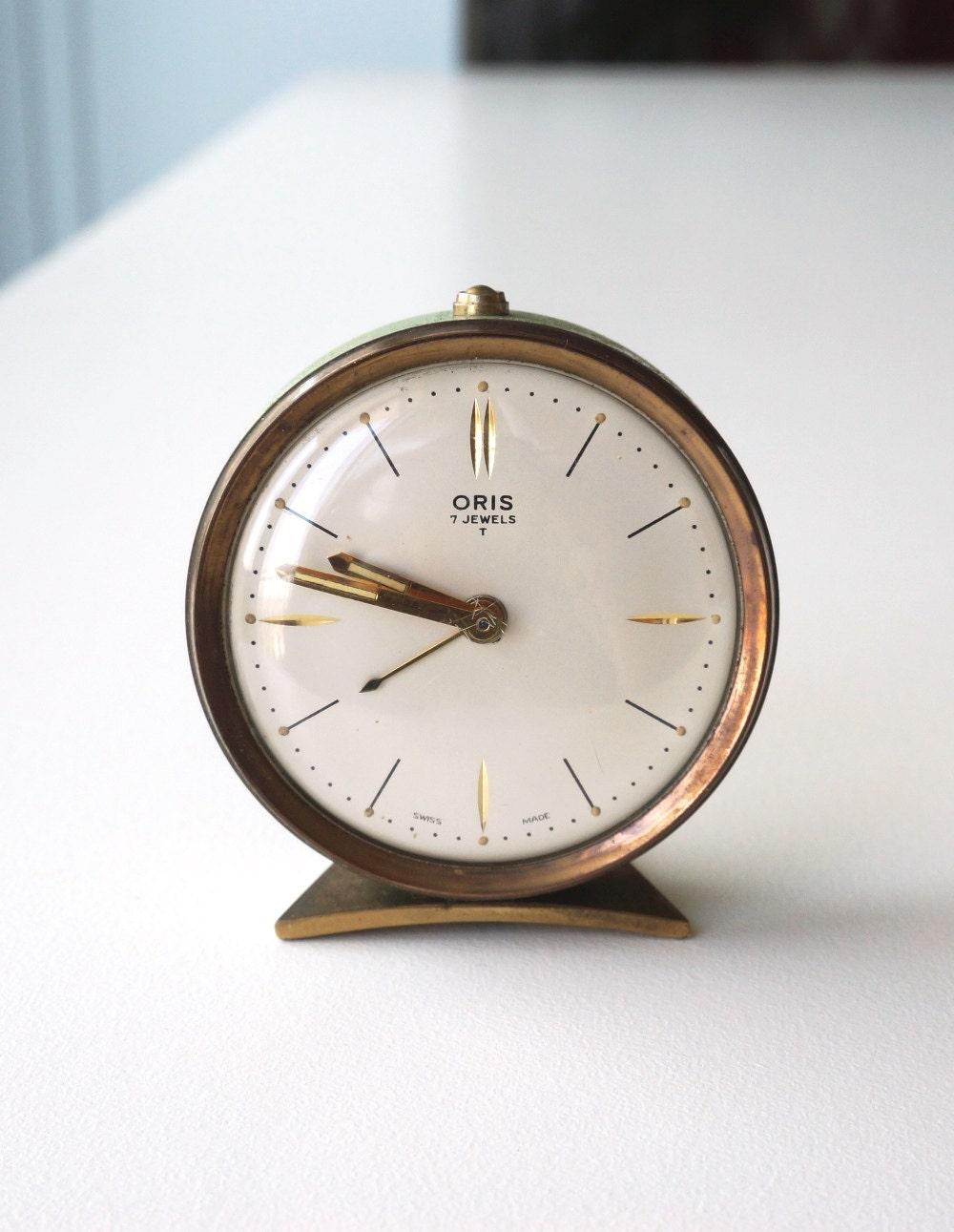 Small Alarm Clock 1950s vintage ORIS clock Swiss made pale