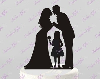 Ships Next Day! Wedding Cake Topper Silhouette Groom and Bride with a Flower Girl -  Family in BLACK Acrylic Cake Topper [CT62og]