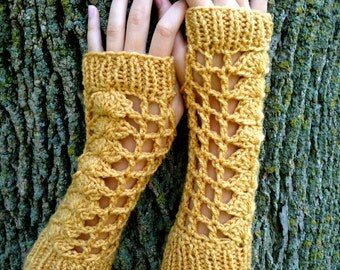Mustard Mesh Crochet Fingerless Gloves Armwarmers with Rib Knit Cuff