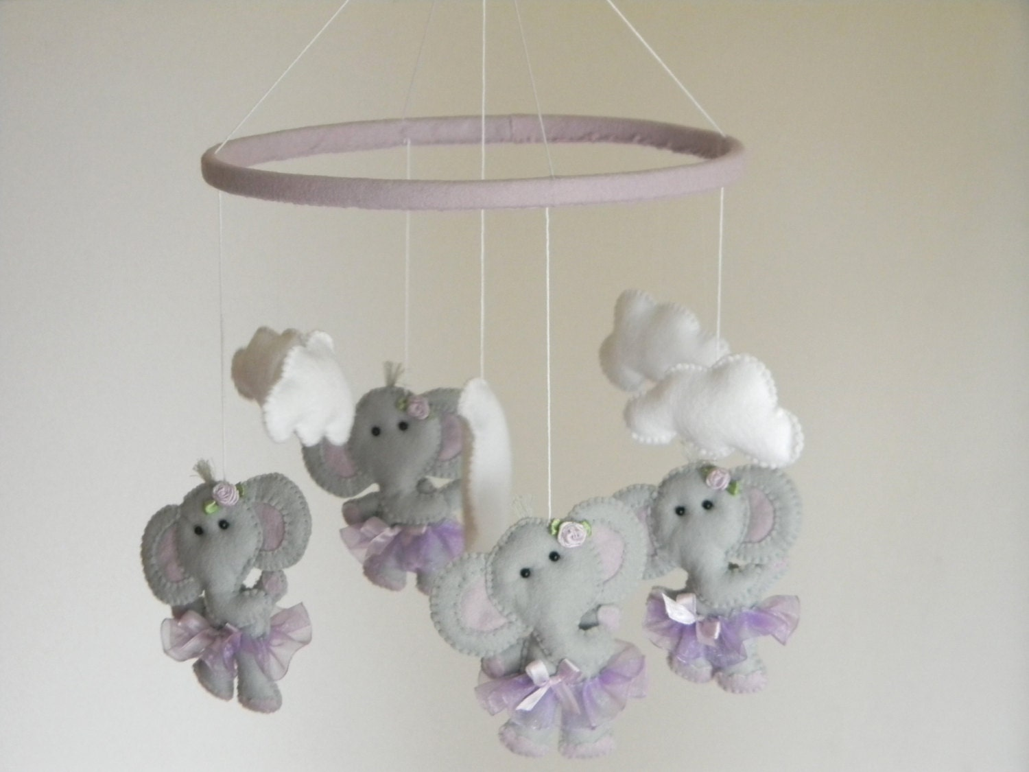 Elephant baby crib mobile ballerina cot mobile elephant tutu for Baby mobile pink and grey