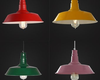 Colorful Factory Pendant - industrial lighting - vintage hanging lamps - ceiling lamps - edison bulb - warehouse light - E27 - steel lamp