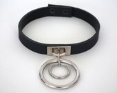 The Talin Collar.                               Double Hanging Bullring Collar, Real Leather.