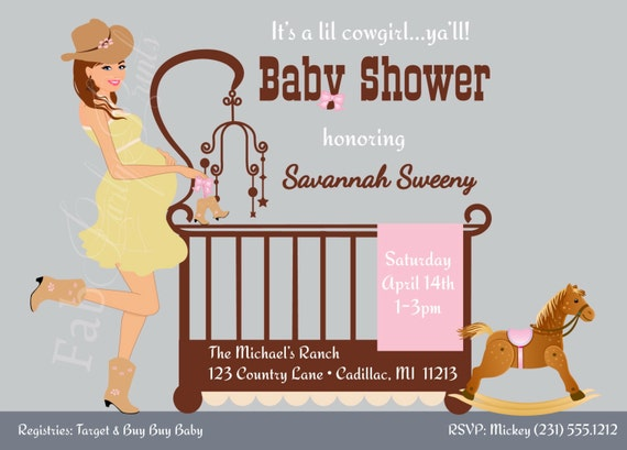 cowgirl baby shower invitation  country western baby shower, Baby shower invitations