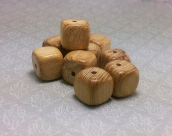 Wooden beads cube of acacia wood, natural beads, unfinished beads, beads 15mm, 20 pieces