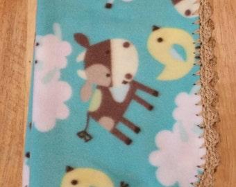 Light Blue Baby Farm Animals Fleece Baby Blanket with Hand Crocheted Border