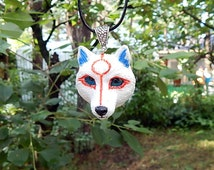 Okami Amaterasu Necklace, pendant, white wolf, Videogame,  Chibiterasu mini wolf, goddess Amaterasu from the game Okami, handmade of clay