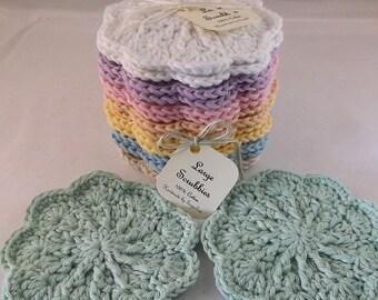 Cotton face cloth, wash cloth, Large scrubbie, Face scrubbies - 100% Cotton, textured face scrubbies, crochet scrubbies, makeup remover pads
