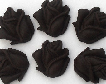 12 Open Roses in Black Edible sugar cake / cookie decoration toppers flowers