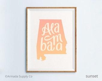 Alabama print - Alabama art - Alabama poster - Alabama wall art
