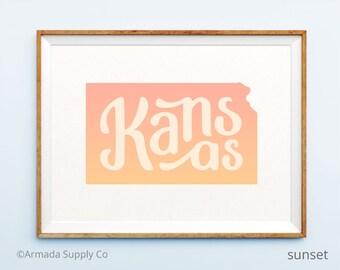 Kansas print - Kansas art - Kansas poster - Kansas wall art