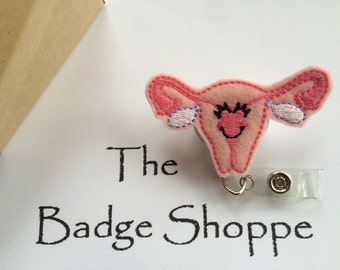 Happy Uterus Made of Felt on a Retractable ID Badge Holder-Fertility Badge-OB Badge Reel-Labor and Delivery-OB staff