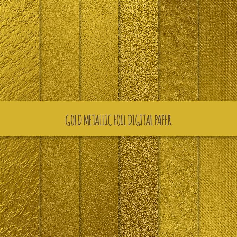 Gold Foil Digital Paper Metallic Gold Digital Paper Metallic