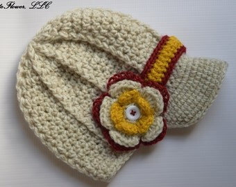 Crochet newsboy hat , in white color,crochet baby boy hat for photo prop
