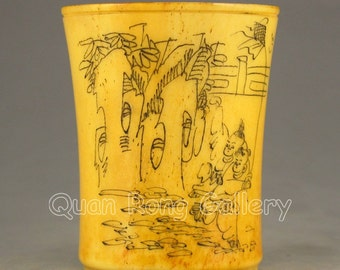 N2849 Chinese Bone Cup w Carved Urchin Design & Poetry