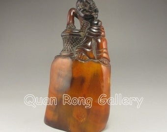 N2810 Hand Carved Chinese Ox Horn Statue w Arhat