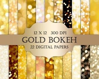 Bokeh Digital Paper -  gold bokeh, gold glitter, bokeh backgrounds, shiny, gold digital paper, bokeh backdrop, bokeh potography overlays