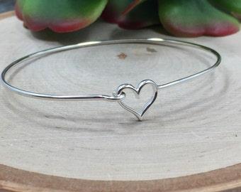 Heart Bracelet, Bangle, Charm Bracelet with Heart Hook and Eye Closure, Heart Hook and Eye Bracelet, Sterling Silver Bracelet