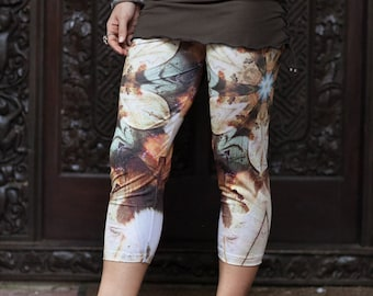 Kookaburra Dreaming Leggings // Capri // 3/4 leggings / Tribal / earthy / feathers / mandala