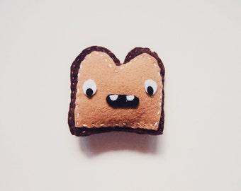 """3.5"""" Tall Cute Happy Dark Brown Toast Felt Plush Toy"""