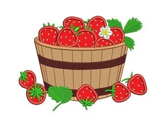 Basket with Strawberries Applique Machine Embroidery Digitized Design Pattern  - Instant Download - 4x4 , 5x7, 6x10
