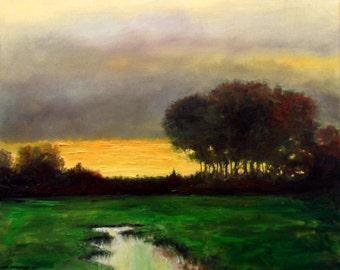 Dusk Landscape Original Large Oil Painting 140 cm x 90 cm