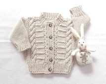 Aran baby cardigan - Baby clothing - Baby shower gift - Baby knit sweater - Infant knit clothing