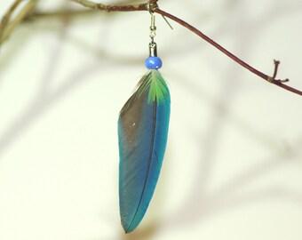 earring FLY bleue_perroquet_plume natural _fait france_plaque massive argent_argent hand