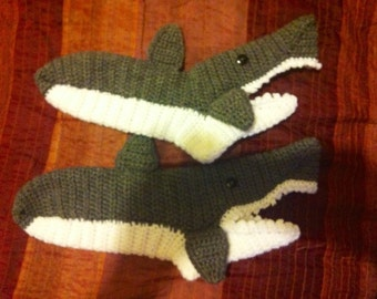 Child sized shark attack slippers