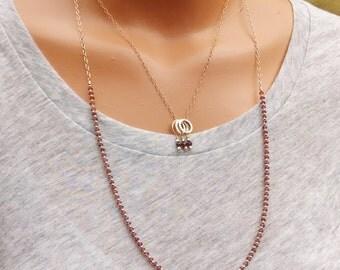Long Garnet Necklce, Gold and Garnet Beaded Necklace, Gemstone Layering Necklace, Delicate Garnet Necklace, January Birthstone Necklace