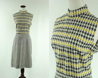 Mod 60s Black 'n' white Woven Sleeveless Dress