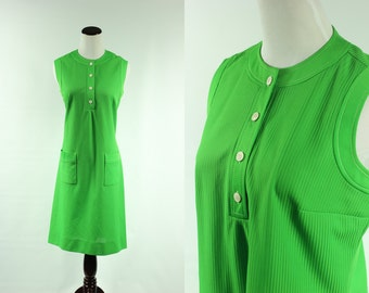 60s Kelly Green Mod Sleeveless Dress